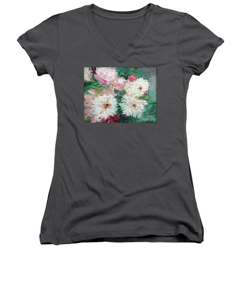 Women's V-Neck T-Shirt (Junior Cut) featuring the painting My Chrysanthemums by Barbara Anna Knauf