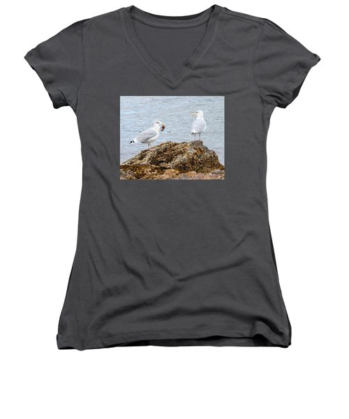 Women's V-Neck T-Shirt featuring the photograph My Crab Go Away by Debbie Stahre