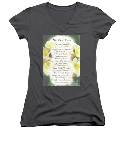 My Evil Twin Greeting Card And Poster Women's V-Neck T-Shirt (Junior Cut) by Felipe Adan Lerma