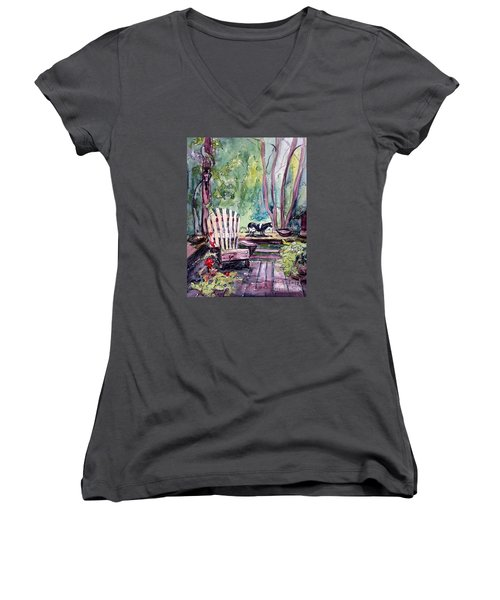 Women's V-Neck T-Shirt (Junior Cut) featuring the painting My Front Porch by Gretchen Allen