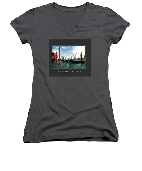 Women's V-Neck T-Shirt (Junior Cut) featuring the photograph My Future Is Clear by Donna Corless