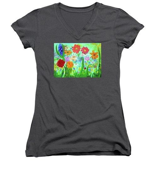 My Happy Garden 1  Women's V-Neck T-Shirt (Junior Cut) by Haleh Mahbod