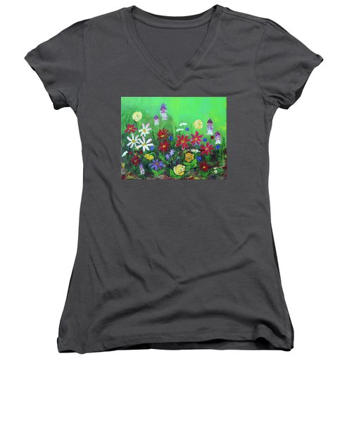 My Happy Garden 2 Women's V-Neck T-Shirt (Junior Cut) by Haleh Mahbod