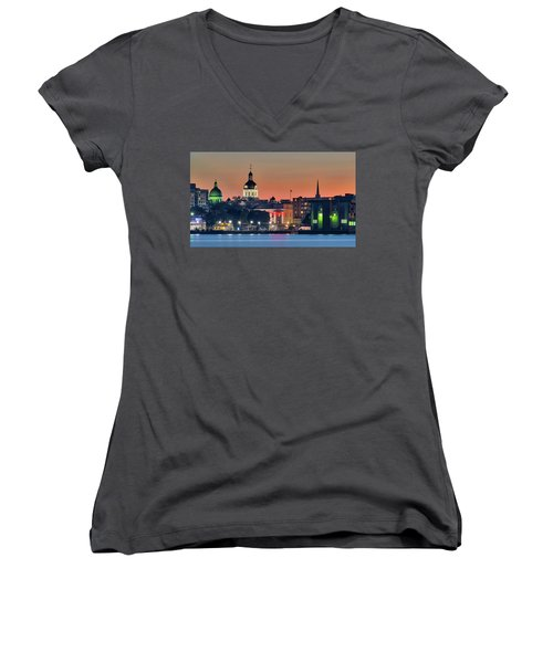 My Home Town At Night... Women's V-Neck (Athletic Fit)