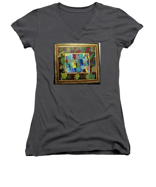 My Little Town Women's V-Neck T-Shirt (Junior Cut) by Bernard Goodman