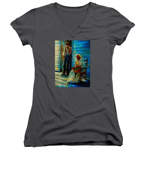 Women's V-Neck T-Shirt (Junior Cut) featuring the painting My Mom by Emery Franklin
