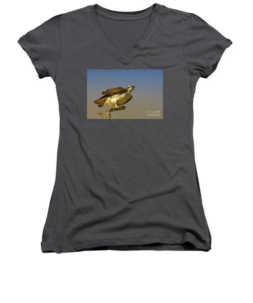 Women's V-Neck T-Shirt (Junior Cut) featuring the photograph My Pose For You by Deborah Benoit