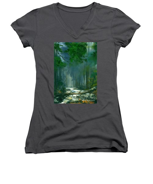 My Secret Place II Women's V-Neck T-Shirt (Junior Cut) by Michael Swanson