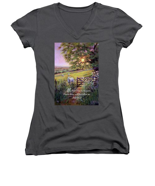 My Sheep Hear My Voice Women's V-Neck