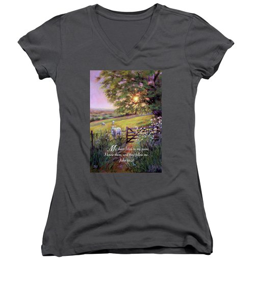 My Sheep Hear My Voice Women's V-Neck (Athletic Fit)