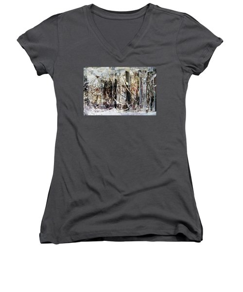 Women's V-Neck T-Shirt (Junior Cut) featuring the photograph My Signature Or Yours  by Danica Radman