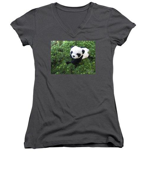Women's V-Neck T-Shirt (Junior Cut) featuring the photograph My Soft Green Bed by Ausra Huntington nee Paulauskaite