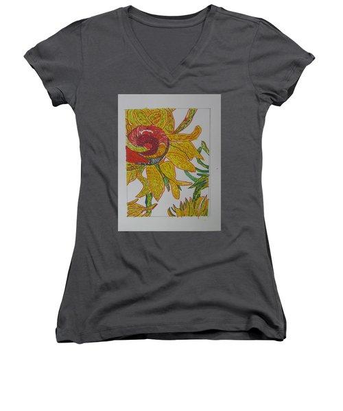 My Version Of A Van Gogh Sunflower Women's V-Neck T-Shirt (Junior Cut) by AJ Brown