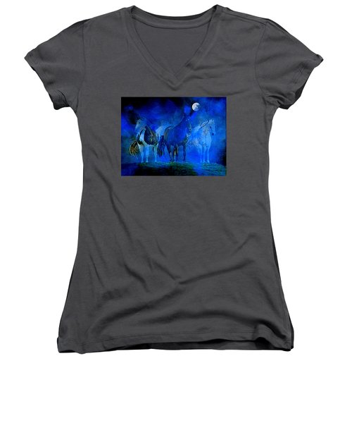 Women's V-Neck (Athletic Fit) featuring the painting My Whole World Turns Misty Blue by Hanne Lore Koehler