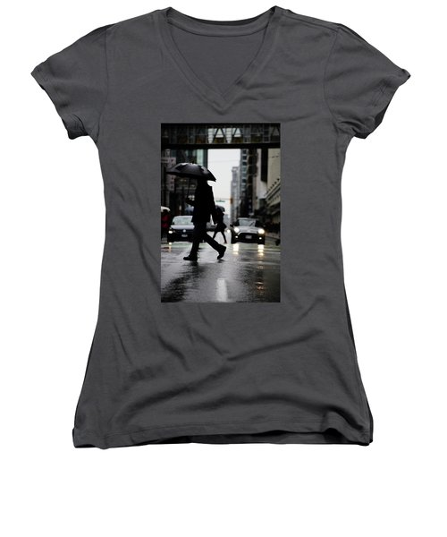 Women's V-Neck T-Shirt (Junior Cut) featuring the photograph My World Hers Two by Empty Wall