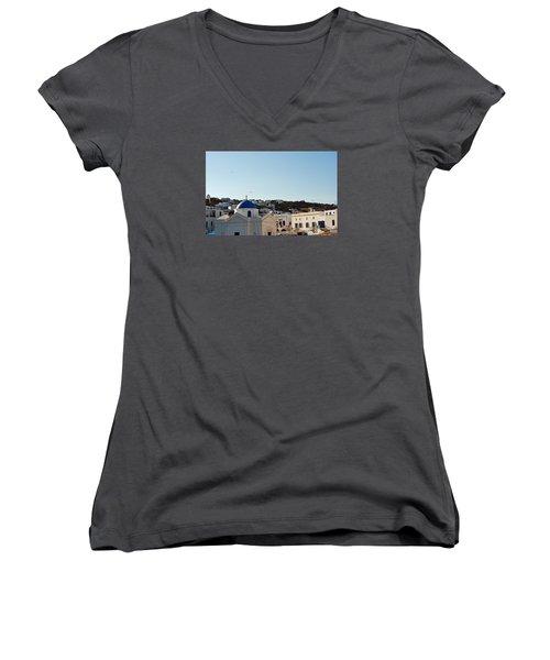 Women's V-Neck T-Shirt (Junior Cut) featuring the photograph Mykonos Sunrise by Robert Moss