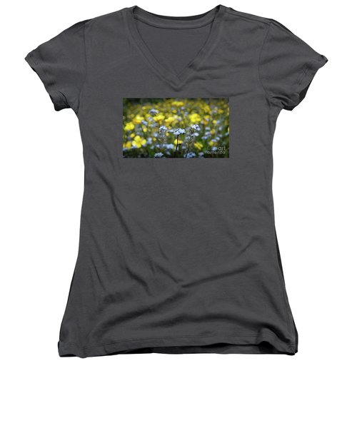 Myosotis With Yellow Flowers Women's V-Neck (Athletic Fit)