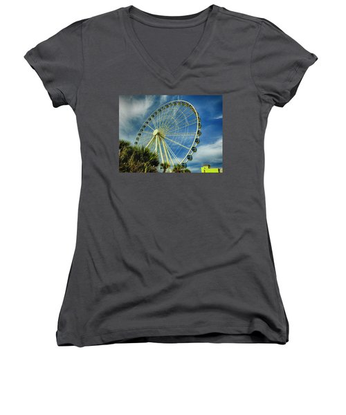 Myrtle Beach Skywheel Women's V-Neck T-Shirt (Junior Cut) by Bill Barber