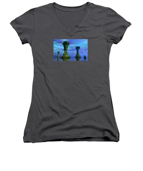 Mysterious Islands Women's V-Neck T-Shirt (Junior Cut) by Mark Blauhoefer