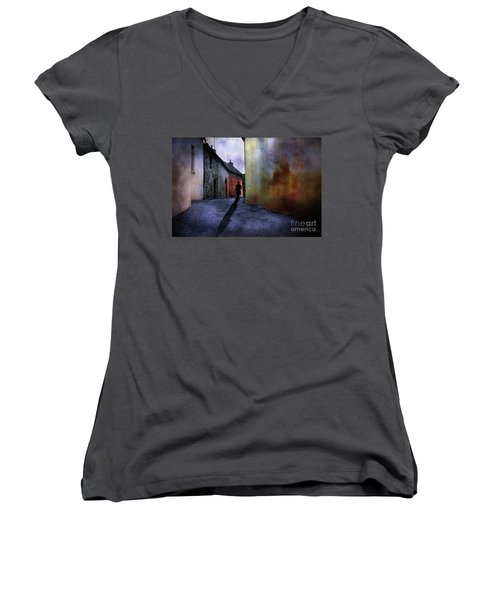 Women's V-Neck T-Shirt (Junior Cut) featuring the mixed media Mystery Corner by Jim  Hatch