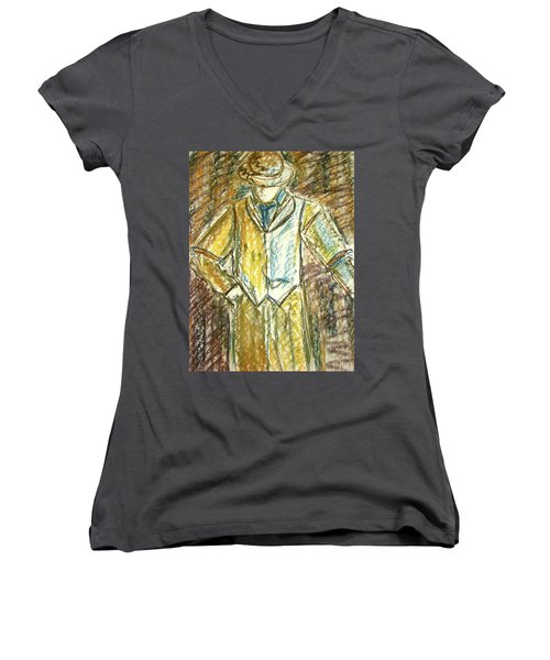Women's V-Neck T-Shirt (Junior Cut) featuring the painting Mystery Man by Cathie Richardson