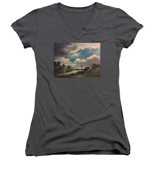 Mystery Of God  The Eye Of God Women's V-Neck T-Shirt (Junior Cut) by Randy Burns