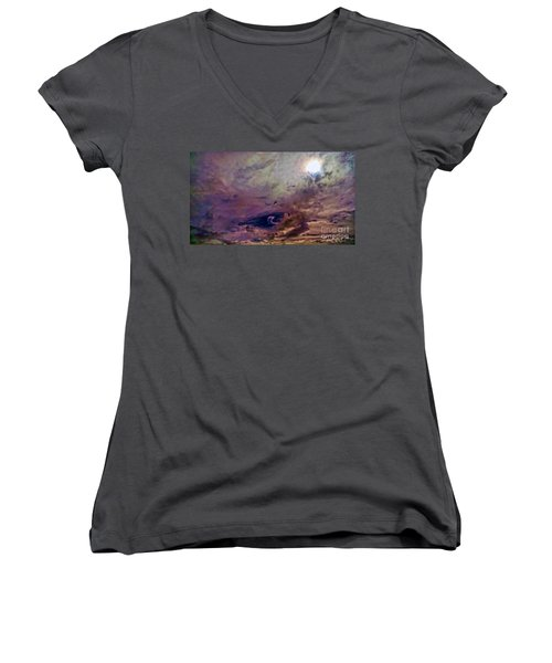 Women's V-Neck T-Shirt (Junior Cut) featuring the photograph Mystery by Roberta Byram