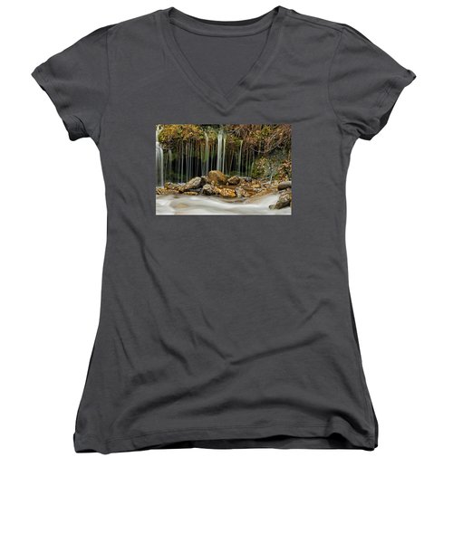 Women's V-Neck featuring the photograph Mystery Stream by Scott Read