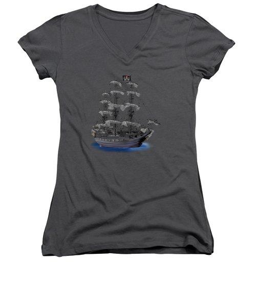Mystical Moonlit Pirate Ship Women's V-Neck T-Shirt