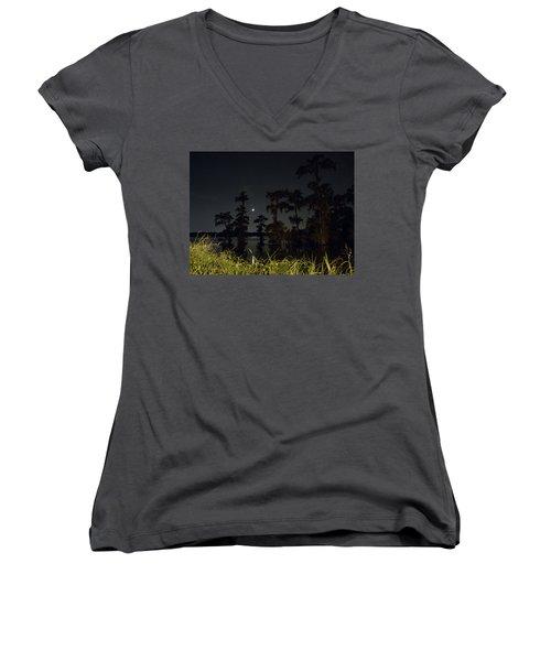 Mystique Of A Cajun Night Women's V-Neck T-Shirt (Junior Cut) by Kimo Fernandez