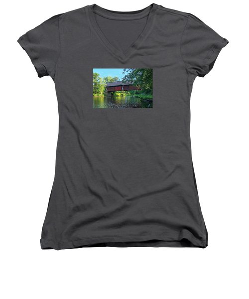 N. Troy Bridge Women's V-Neck T-Shirt (Junior Cut) by John Selmer Sr