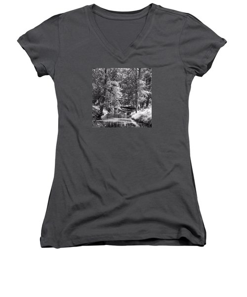 Women's V-Neck T-Shirt (Junior Cut) featuring the photograph Nadine's Creek In Black And White by Kathy Kelly