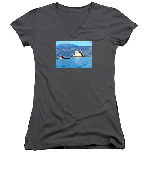 Women's V-Neck T-Shirt (Junior Cut) featuring the photograph Naflion Greece Harbor Fortress by Phyllis Kaltenbach