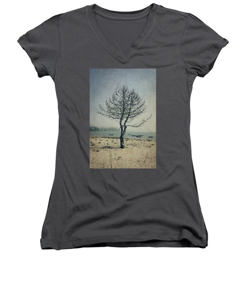 Women's V-Neck T-Shirt (Junior Cut) featuring the photograph Naked Tree by Marco Oliveira