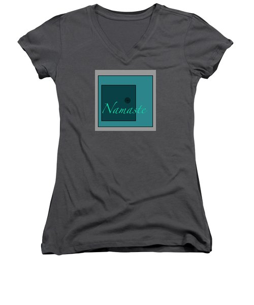 Namaste In Blue Women's V-Neck T-Shirt