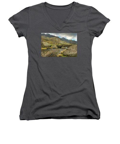 Women's V-Neck T-Shirt (Junior Cut) featuring the photograph Nant Peris Bridge by Adrian Evans