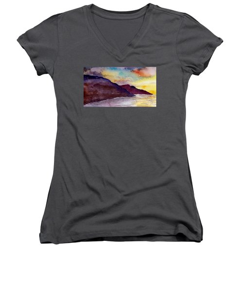 Napali Coast Kauai Hawaii Women's V-Neck T-Shirt