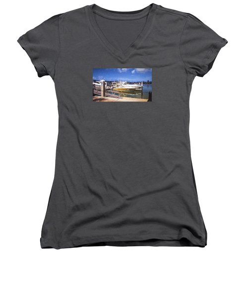 Naples Dock Women's V-Neck T-Shirt (Junior Cut) by Rena Trepanier