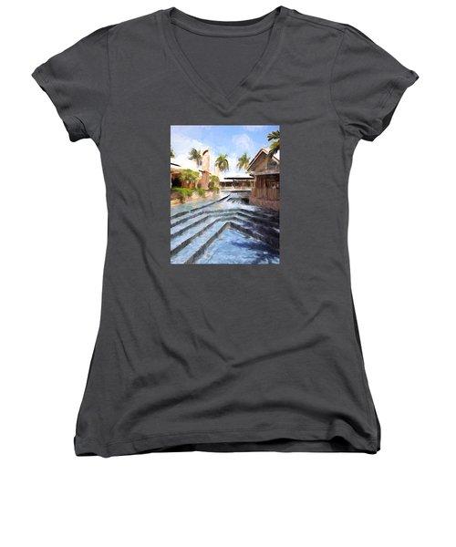 Naples Falls Shopping  Women's V-Neck T-Shirt (Junior Cut) by Rena Trepanier