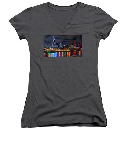 Nashville After Dark Women's V-Neck T-Shirt (Junior Cut) by Frozen in Time Fine Art Photography