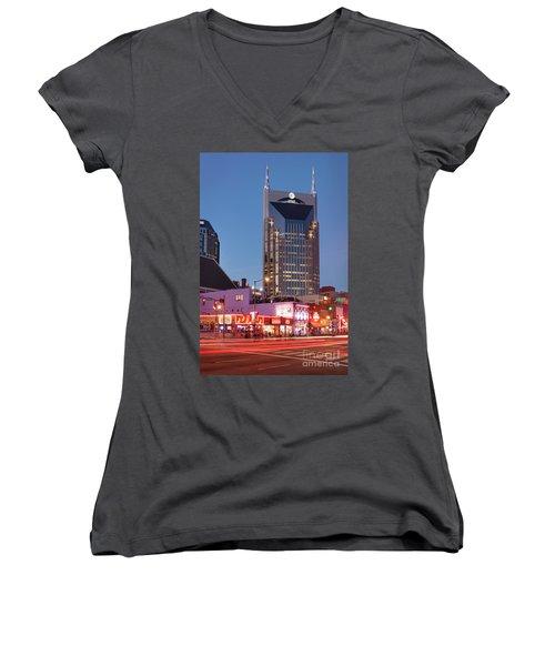 Women's V-Neck T-Shirt (Junior Cut) featuring the photograph Nashville - Batman Building by Brian Jannsen