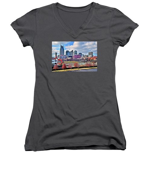 Women's V-Neck T-Shirt (Junior Cut) featuring the photograph Nashville Clouds by Frozen in Time Fine Art Photography