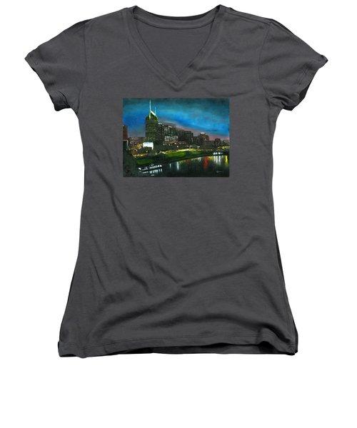 Nashville Nights Women's V-Neck T-Shirt
