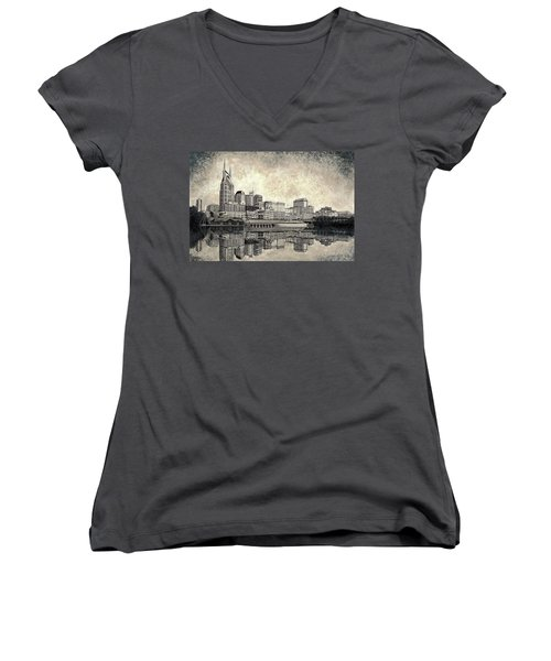 Women's V-Neck T-Shirt (Junior Cut) featuring the mixed media Nashville Skyline II by Janet King