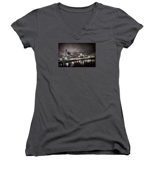 Nashville Skyline Women's V-Neck T-Shirt (Junior Cut) by Matt Helm