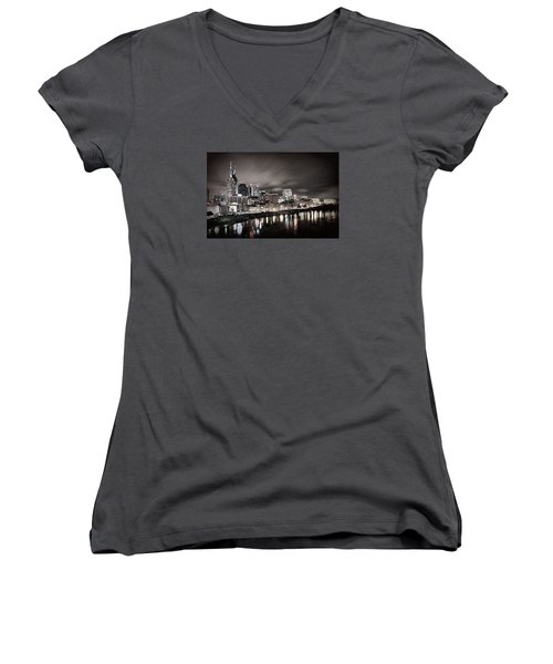 Nashville Skyline Women's V-Neck (Athletic Fit)