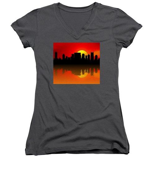 Nashville Skyline Sunset Reflection Women's V-Neck T-Shirt (Junior Cut) by Dan Sproul