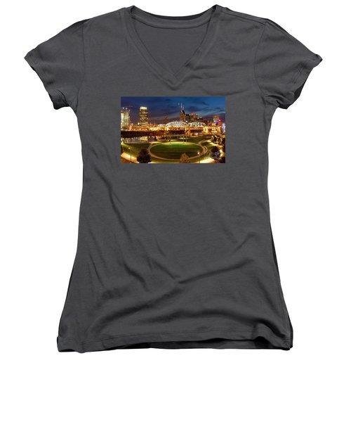 Women's V-Neck T-Shirt (Junior Cut) featuring the photograph Nashville Twilight Skyline by Brian Jannsen