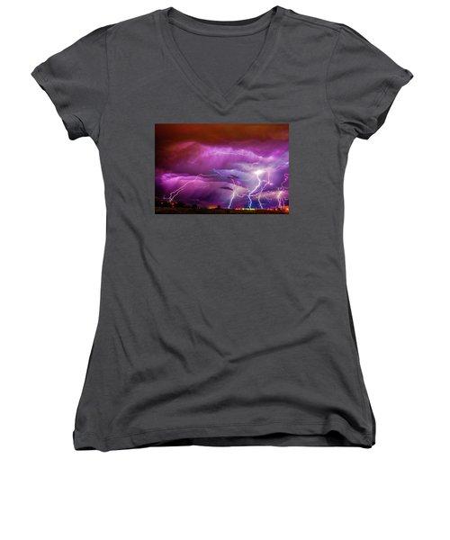 Nasty But Awesome Late Night Lightning 008 Women's V-Neck T-Shirt