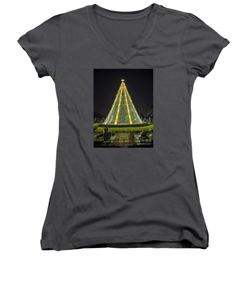 National Christmas Tree #1 Women's V-Neck T-Shirt (Junior Cut) by Sandy Molinaro